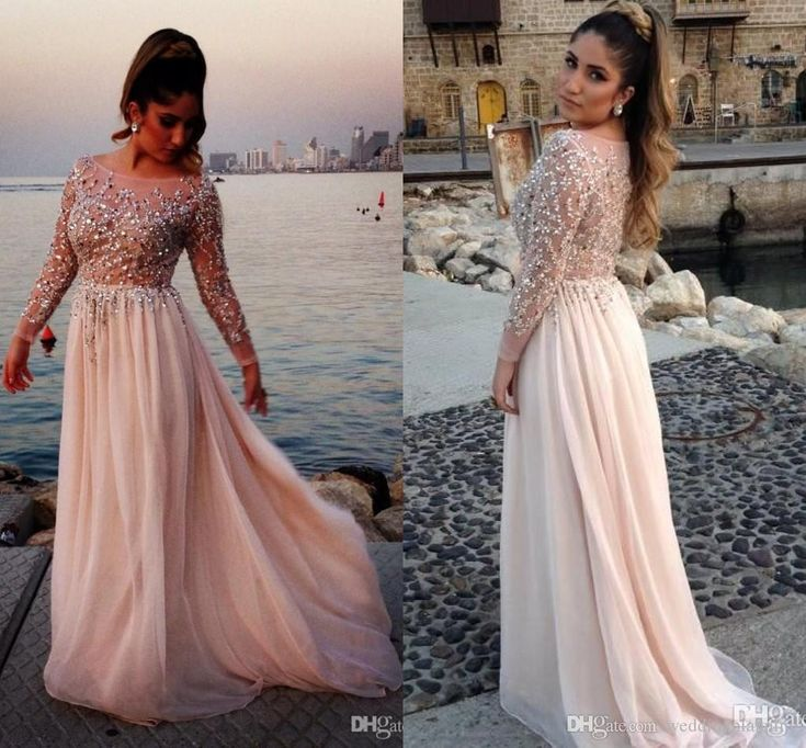 2015 Distinctive Crystal Beaded Elegant Prom Dresses Plus Size Sheer Bateau Long Sleeves A Line Chiffon Sweep Train Long Prom Dress With Bra