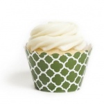 Leaf Green Spanish Tile Cupcake Wrappers BULK (12 Wraps)