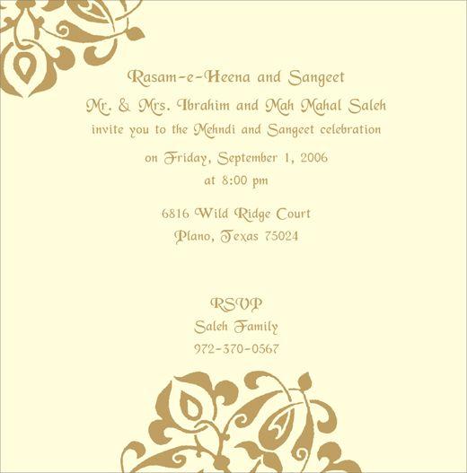 Mehndi Invitation Wording Google Search Invitations