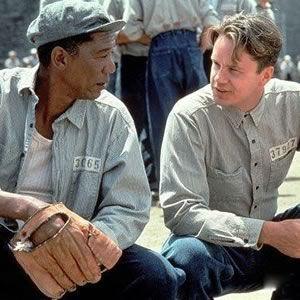 "Morgan Freeman and Tim Robbins in ""The Shawshank Redemption""."