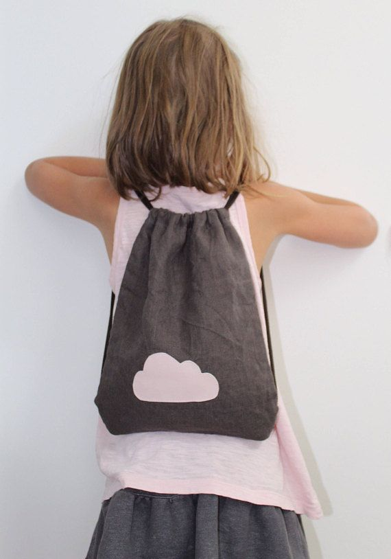 Brown gym bag pink cloud pattern for children gym bag with
