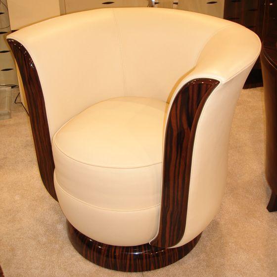Modèle Anthony - Fauteuil 1930 art déco pivotant ébène macassar cuir