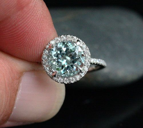 Single Halo 14k White Gold 9mm Aquamarine Round by Twoperidotbirds, $1200.00