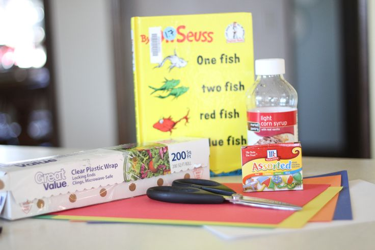 Use colored corn syrup to create this fishbowl craft based on the book One Fish Two Fish Red Fish Blue Fish by Dr. Seuss!