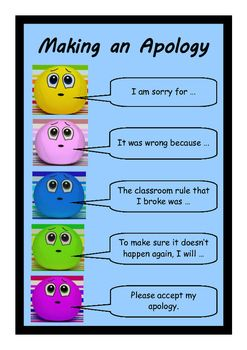 How to make an apology - wall chart