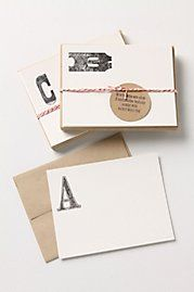 monogram cards: Anthropology, Gifts Ideas, Monograms Stationery, Letters Note, Black Oak, Anthropology Notecard, Note Cards, Monograms Cards, Oak Monograms