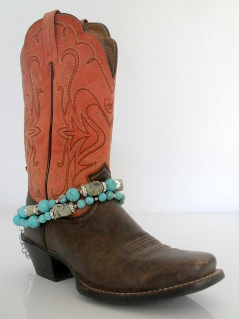 Boot Jewelry - Turquoise Nugget & Rounds with Sterling Silver and Swarovski Crytal Boot Anklet/Accessory