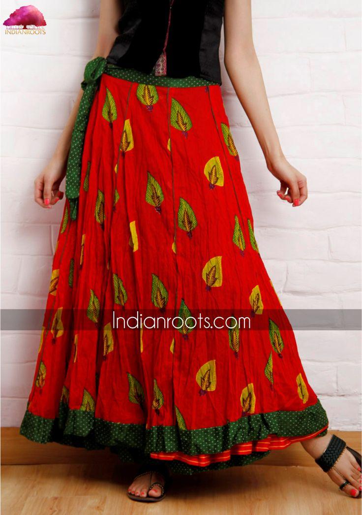 Mashru ankle length kalidaar skirt by Nomad on Indianroots.com