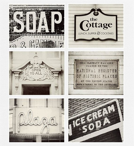 Vintage sign collection kitchen decor shabby chic home decor set of 6 prints black and white - Vintage home decorating collection ...