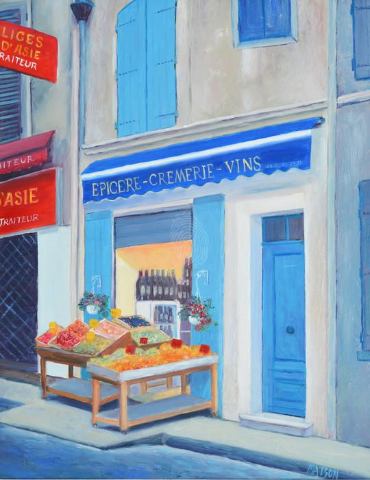 """""""The Wine Shop, Nimes, France"""" by Jan Matson. Paintings for Sale. Bluethumb - Online Art Gallery  #Frenchstreetscene"""