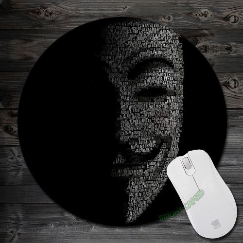 Novelty Anti-Slip Anonymous uy Fawkes V for Vendetta Mat black Theme Pads Round Silone Mouse Mat for Optal Me Mat