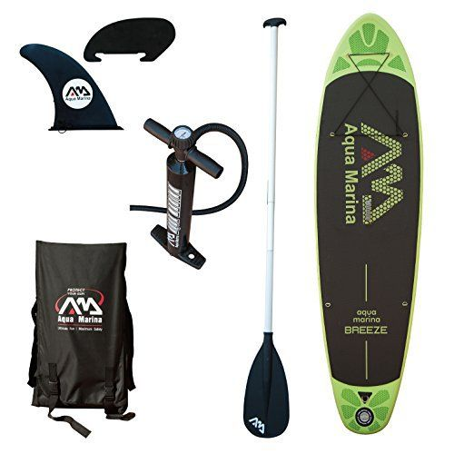 The Aqua Marina Breeze Stand Up Paddle Board boasts the world's most popular and versatile shape available for surfing or stand-up paddling. Built with durable double-wall stitched PVC, this inflatable paddle board is designed for riders looking for low volume and weight which supplies better m...