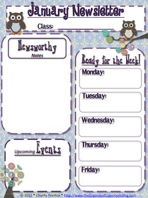 Owl Theme Newsletter from the Owl Theme Mega Planning Pack @ Rene Grant