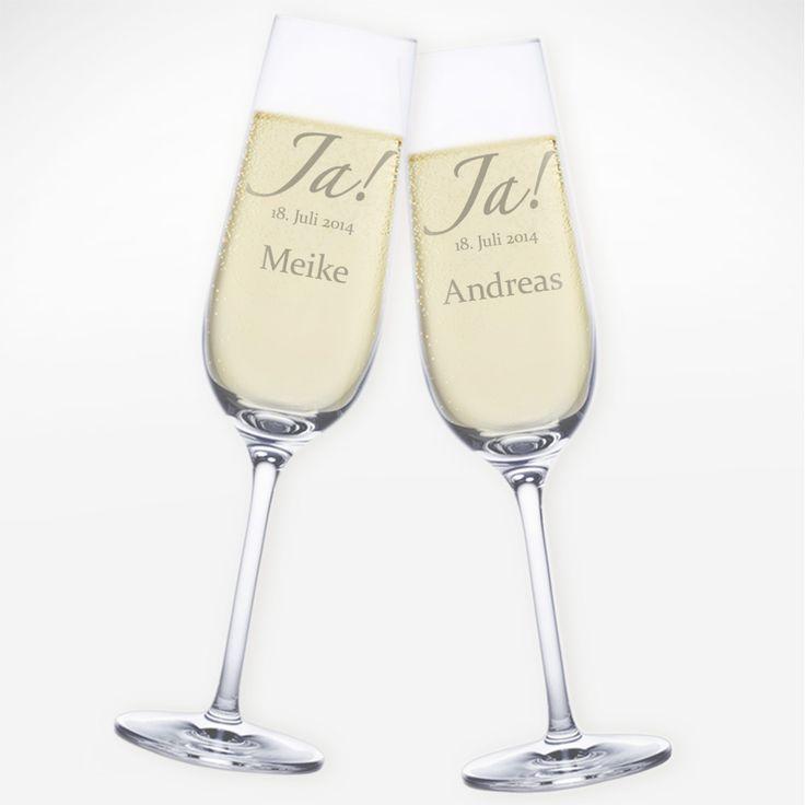 Wer Ja sagt, muss auch Prost sagen. Unsere personalisierten Sektgläser mit Gravur zur Hochzeit - Ja! verbinden beides auf angenehme Art und Weise.