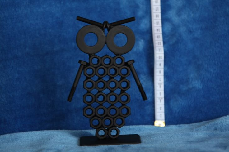 Owl Figurine. Nuts and Bolts Metal Artwork. Owl Statue by ShedShenanigans on Etsy https://www.etsy.com/au/listing/465783091/owl-figurine-nuts-and-bolts-metal
