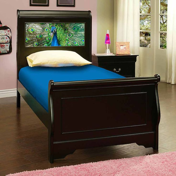 lifetime lightheaded beds edgewood satin black twin sleigh bed with changeable backlit led headboard imagery edgewood twin bed black