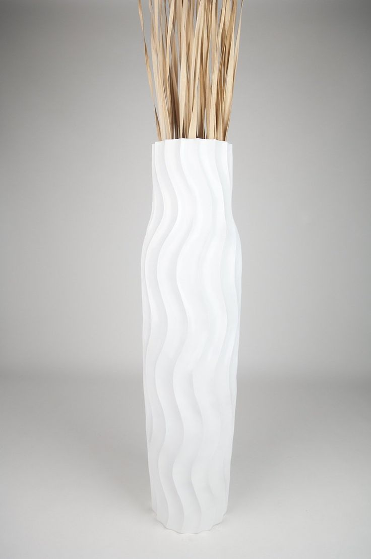 Tall Floor Vase 112 cm, Mango Wood, White: Amazon.co.uk