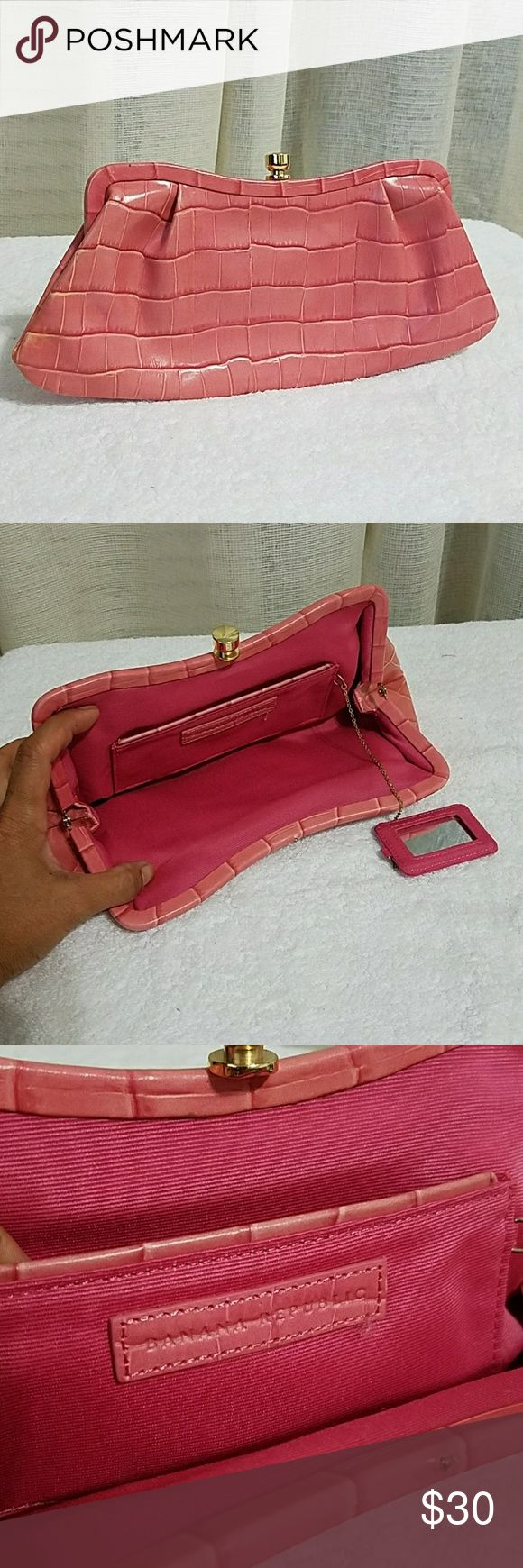 Banana Republic Pretty in Salmon Pink Clutch Bag in new condition, made fr. leather, twist lock closure with small chain attached mirror. it's really pretty, great party clutch bag Banana Republic Bags Clutches & Wristlets