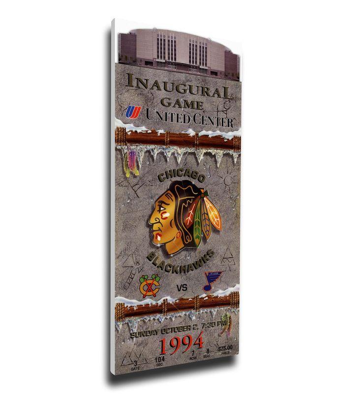 Chicago Blackhawks Wall Art - United Center Inaugural Game Canvas Mega Ticket