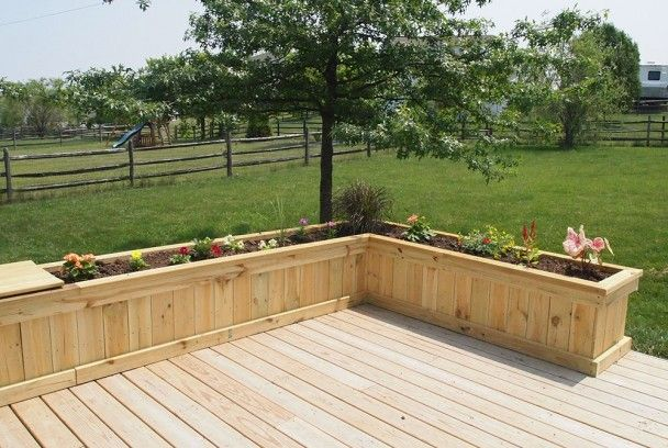 Build in deck planters around patio with mosquito for Deck garden box designs