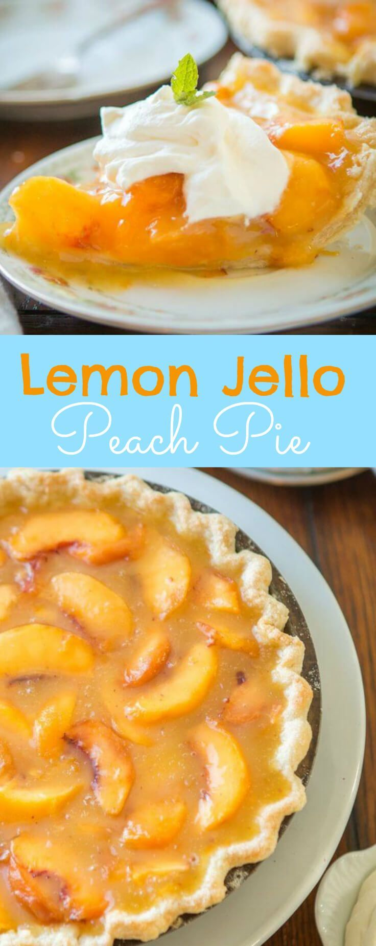 Wait, what?! Did she say lemon jello peach pie? I did and it is such a perfect way to enjoy all of those juicy globes of sweet nectar that are in season. Lemon Jello Peach Pie via @ohsweetbasil