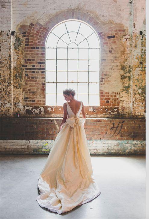 Low Back Wedding Dresses Sydney : Wedding dress with bow on back raw silk gowns