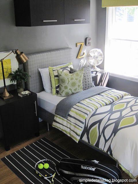 teen boy's bedroom...See this blog, ikea furniture, diy headboard, like fan