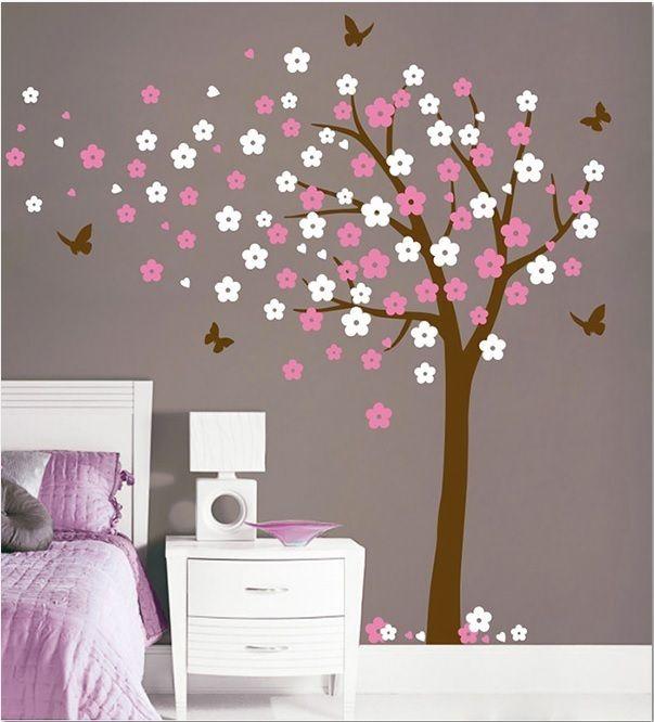 Bloesemboom xl roze wit muurstickers kinderkamer babykamer meisjeskamer pinterest - Roze kinderkamer ...