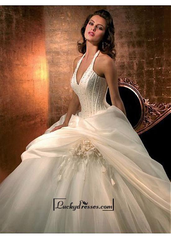 Beautiful Elegant Exquisite Satin Halter Neckline Wedding Dress In Great Handwork