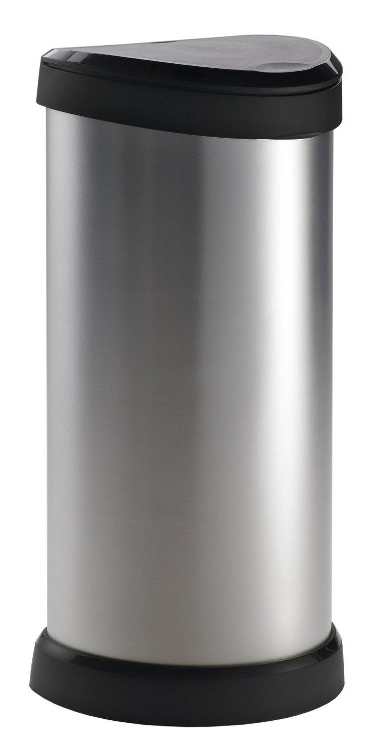 PRICE DROP Curver 40 Litre Metal Effect One Touch Deco Bin, Silver SAVE 65% NOW £17.50
