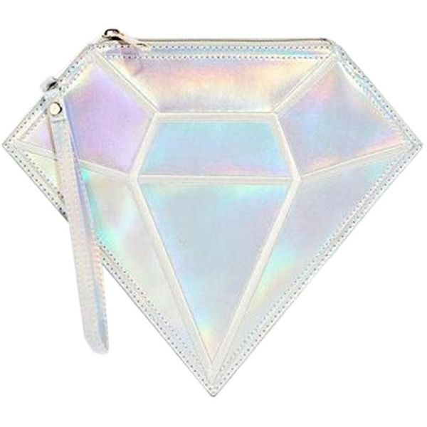 Silver Hologram Diamond Shaped Clutch Bag (£13) ❤ liked on Polyvore featuring bags, handbags, clutches, сумки, holographic purse, white purse, hologram purse, silver handbag and white clutches