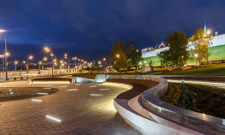 Asgat Galimzianov Park - Kazan, Russia. Project by Atelier Home / Planstudio, arch. R. Suyundukova. Featured product by L&L Luce&Light: River 2.2.