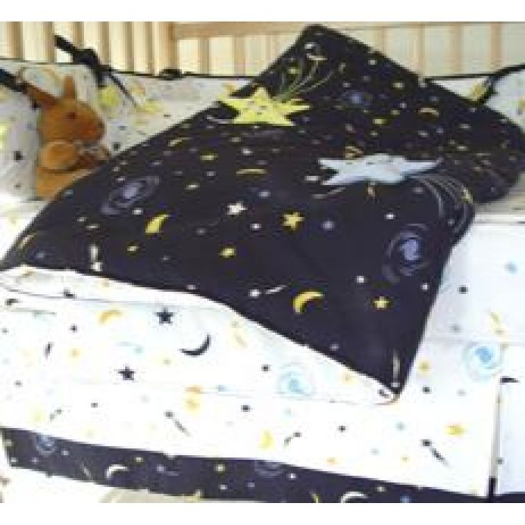 Baby Bedding Set STARRY NIGHT - an imaginative star and moon print in midnight blue and white with 3-D stars stitched on