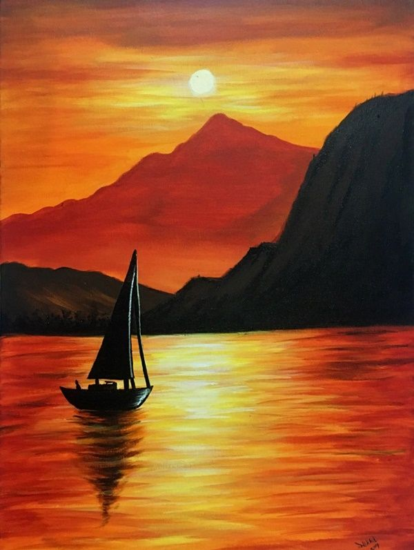 80 Easy Acrylic Canvas Painting Ideas For Beginners To Start Practicing Canvas Painting Images Contemporary Landscape Painting Easy Landscape Paintings