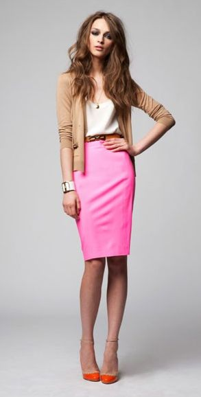 Pink pencil skirt + cardigan