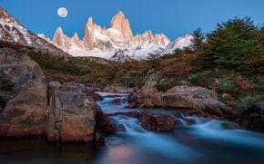 Обои Аргентина, Патагония, горы, Южная Америка, луна, ночь, поток, пики, река, Анды