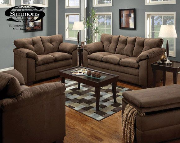2 Pc Montreal Collection Chocolate Microfiber Fabric Simmons Upholstery  Sofa And Love Seat Set With Padded Arms. This Set Includes The Sofa And  Love Seat ...