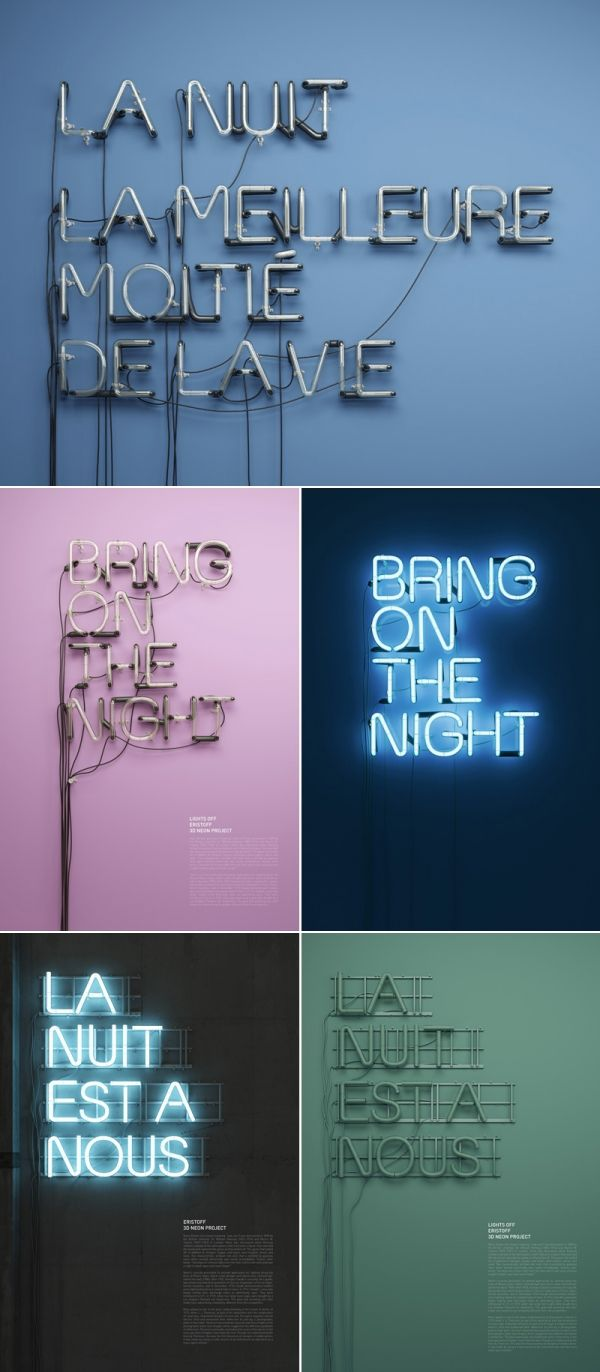 All captials, no serifs, not too condensed or expanded and set to the left rather than centre. Would usually look quite boring but neon lighting makes it interesting to look at