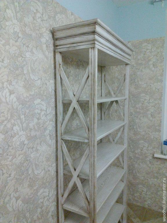 Купить Деревянный стеллаж в стиле Прованс - белый, стеллаж, мебель ручной…
