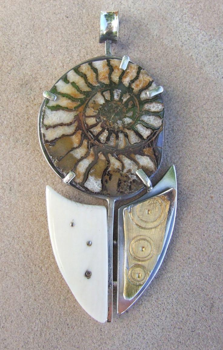 Fossilized Ammonite & Fossilized Ivory Pendant