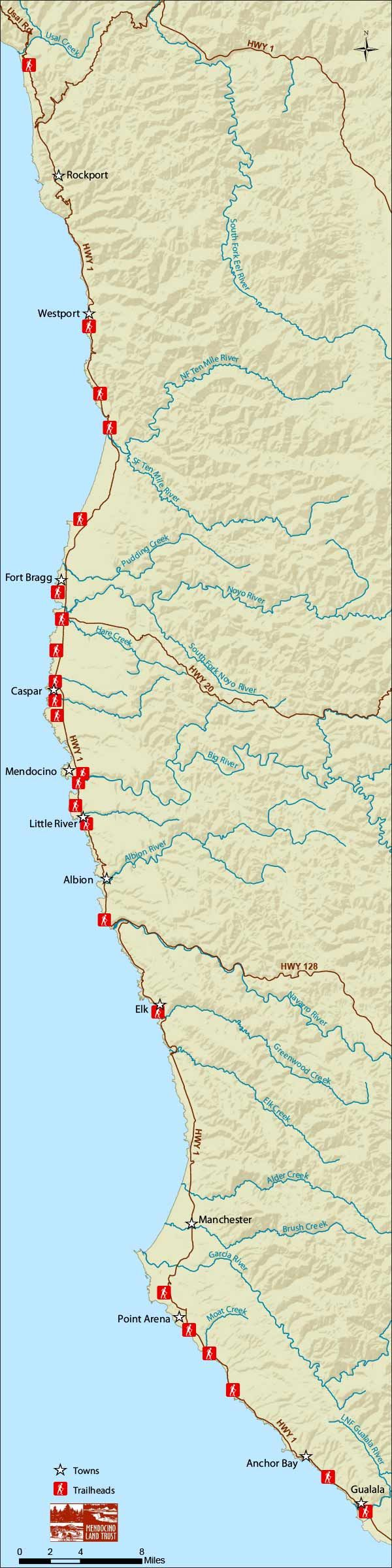 """The California Coastal Trail continues to grow! The newly completed """"Peter Douglas Trail"""" on the Mendocino Coast is a rare opportunity to experience both the amazing """"candelabra"""" redwood trees and breathtaking views of pristine coastline. 2.3 mi"""