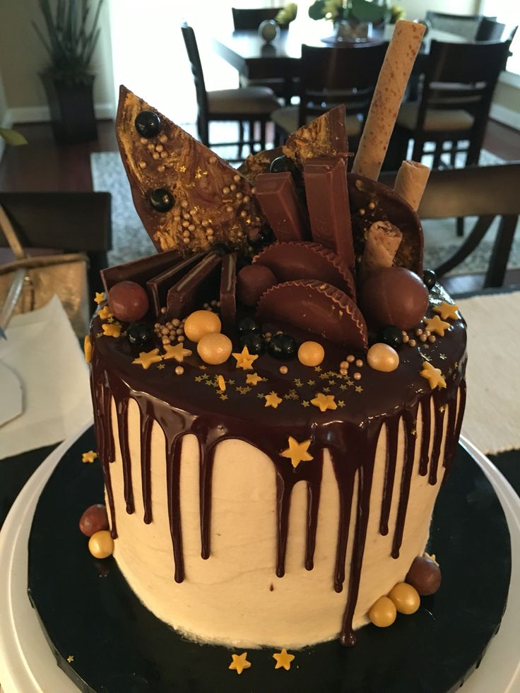 Luscious chocolate cake covered and filled with peanut butter buttercream, dripping in shiny chocolate ganache and loaded with an array of chocolate sweets....YUM!!!