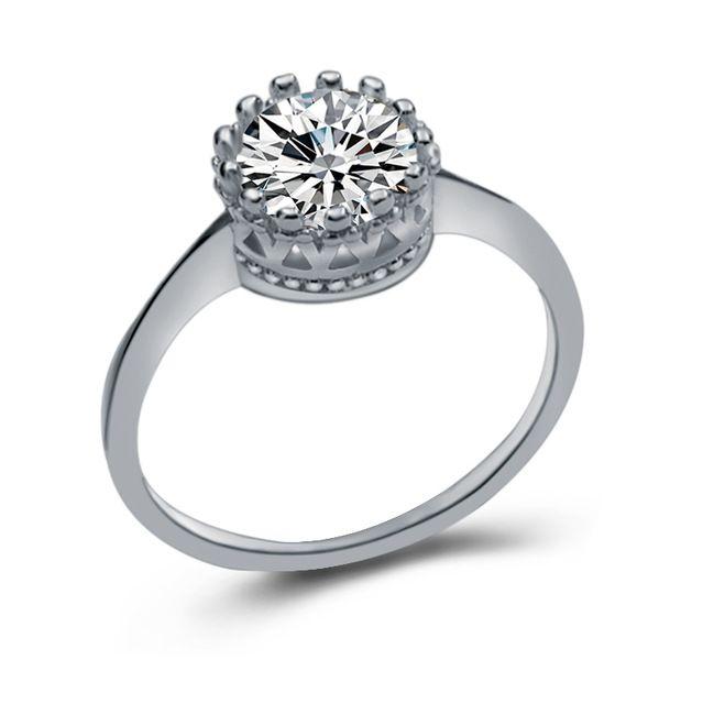 18 k oro blanco plateado platino corona de plata zirconia anillo de piedra de joyería de moda de san valentín de la boda 2016 de las mujeres