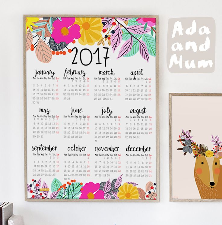 Wall calendar with flowers. Calendar for 2017. Year at a glance. Wall decoration. by AdaAndMum on Etsy