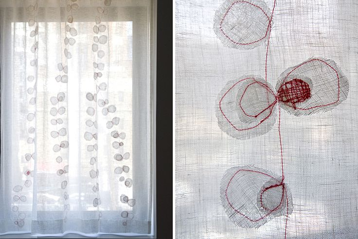 Elodie Blanchard Curtain - floral with circle appliqué