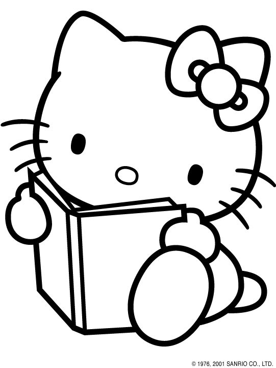 hello kitty coloring pages hello kitty reading coloring page cartoon jr - Cartoon Pictures For Coloring