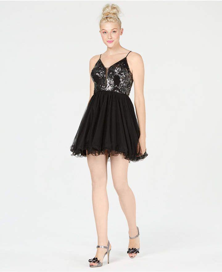 f83da9585a7 Blondie Nites Juniors  Sequin Fit   Flare Dress