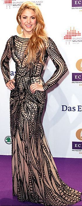 Who made  Shakira's black print long sleeve gown that she wore in Berlin?
