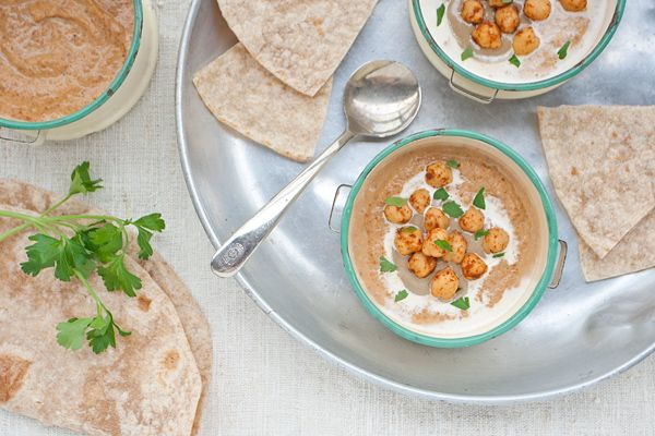 lentil and carrot soup with chickpeas and tahini