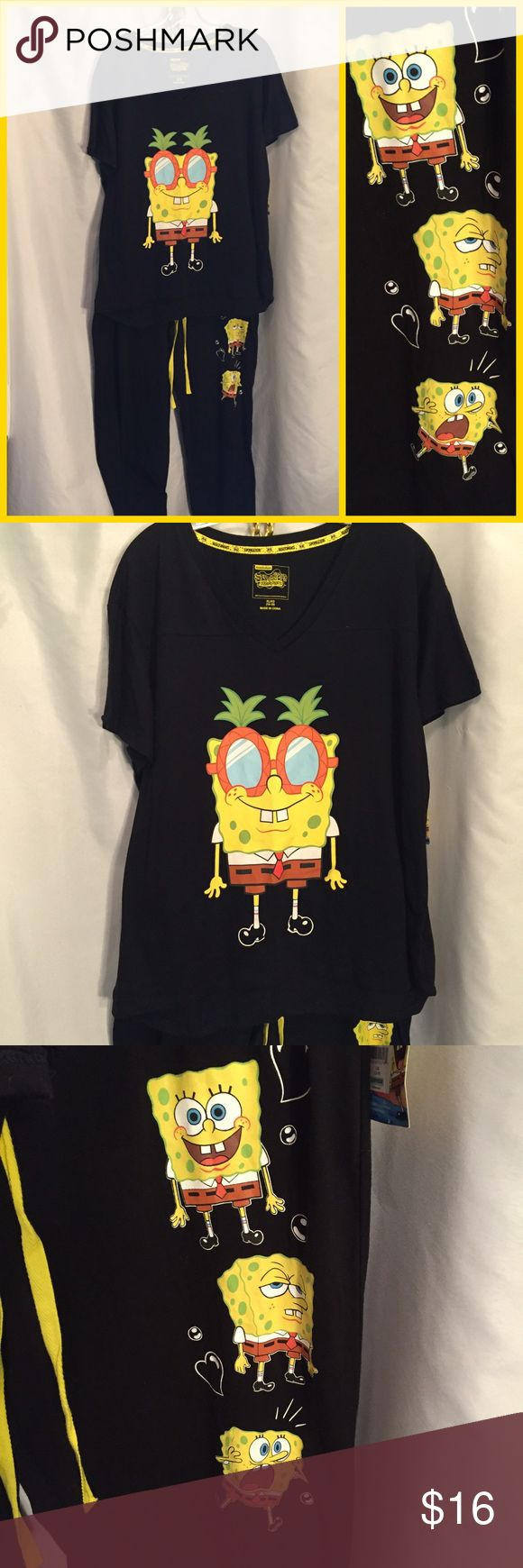 """Sponge Bob New pajamas L/XL Two-piece lightweight SpongeBob pajama set. Top is size extra large with V neck, 42x26"""" bottoms have elastic drawstring waist in size large and are Capri length 34x 27"""". Both pieces are new with tags, Cotton/polyester. Intimates & Sleepwear Pajamas"""
